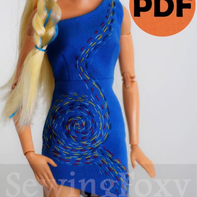 Barbie blue dress pattern